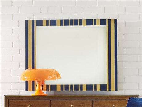 Hooker Furniture Cynthia Rowley Blue and Gold Leaf 52''L x 40''H Parker Striped Landscape Mirror HOO158690008BL2