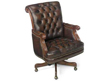 Hooker Furniture Derby Fairplex Dark Wood Executive Swivel Chair HOOEC277