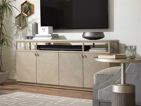 Hooker Furniture Elixir Serene Gray Beige / Champagne Silver 65''W x 18''D Rectangular Entertainment TV Console HOO599055464LTWD