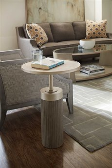 Hooker Furniture Elixir Faux Shagreen with Soft Gray / Champagne Silver 17'' Wide Round Pedestal Table HOO599050002DKW
