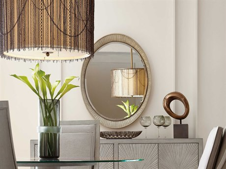 Hooker Furniture Elixir Champagne Silver with Grey Beige 32''W x 42''H Oval Accent Wall Mirror