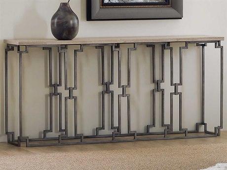 Hooker Furniture Emmeline White Travertine Stone / Metal 62'' Wide Rectangular Console Table