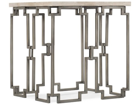 Hooker Furniture Emmeline White Travertine / Metal 22'' Wide Square End Table HOO10878011300