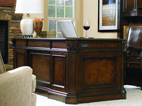 Hooker Furniture European Renaissance II Dark Rich Brown 73''L x 37''W Rectangular Executive Desk HOO37410562