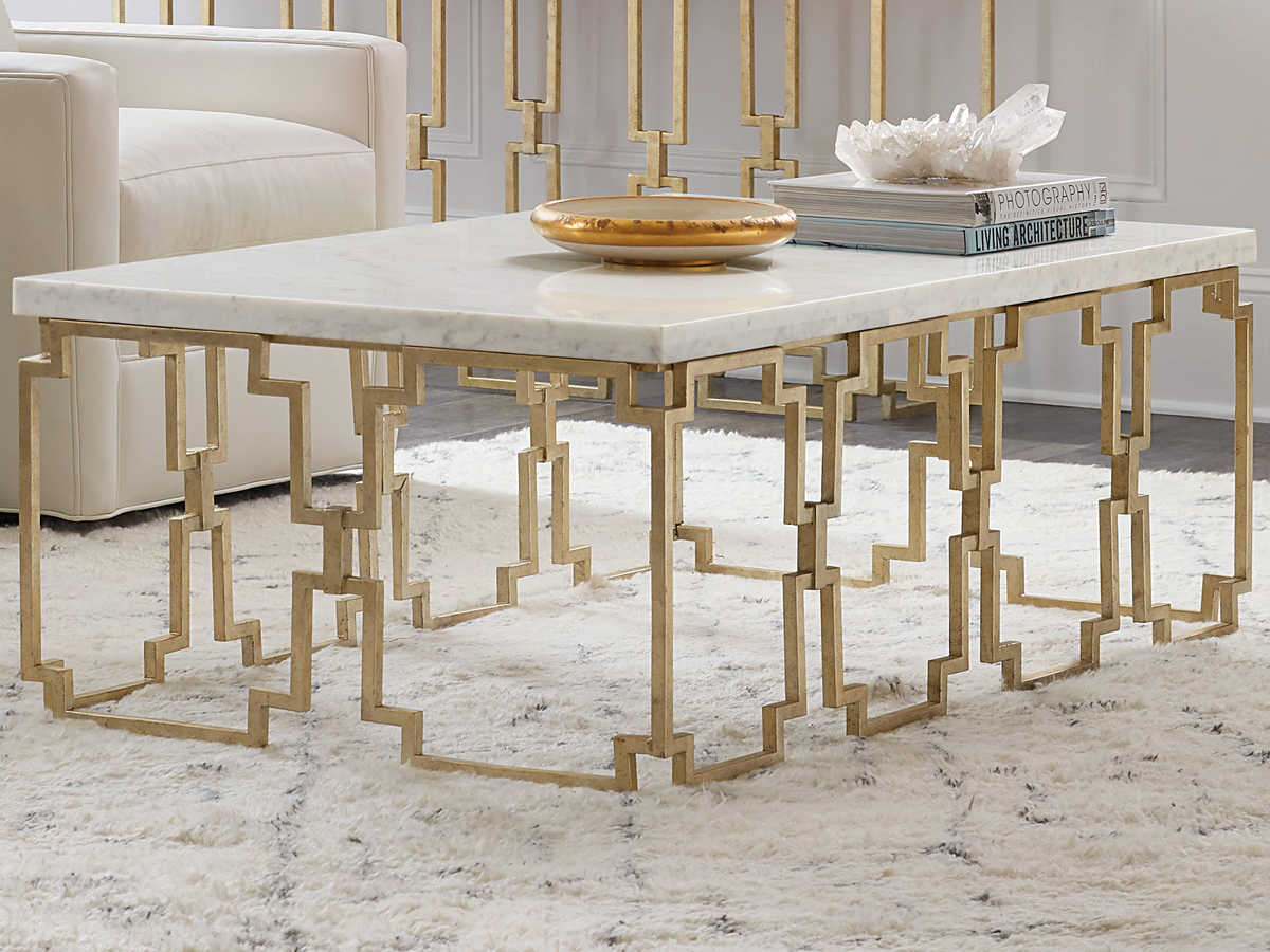 Furniture Evermore Kala White Marble Gold 52 Wide Rectangular Coffee Table