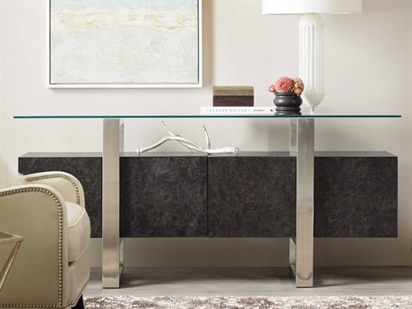 Hooker Furniture Floating Mappa Burl and Stainless Steel 72''L x 19''W Rectangular Console Table