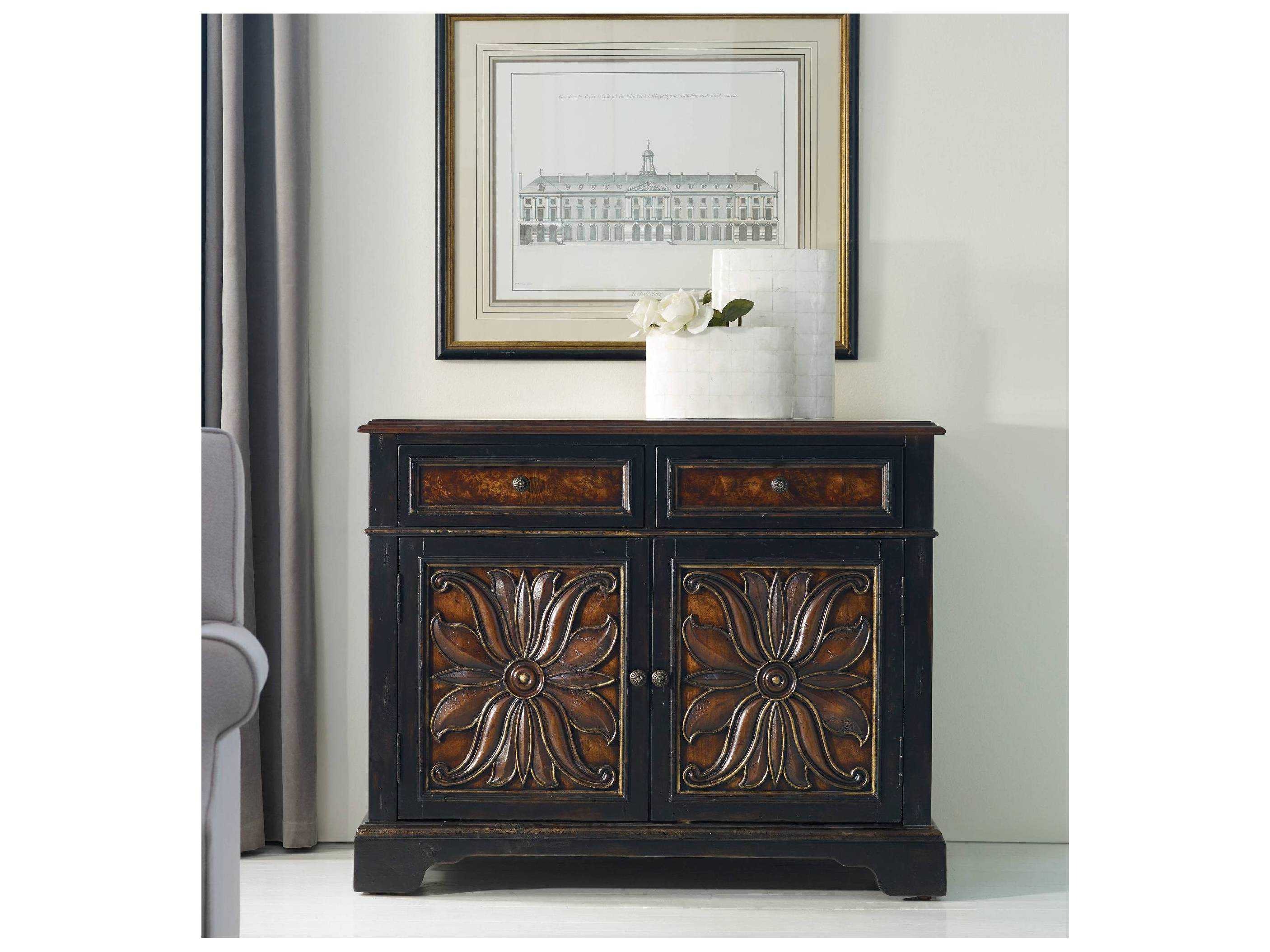 Picture of: Hooker Furniture Grandover Black With Gold Accent 43 L X 21 W Rectangular Buffet Hoo502985002
