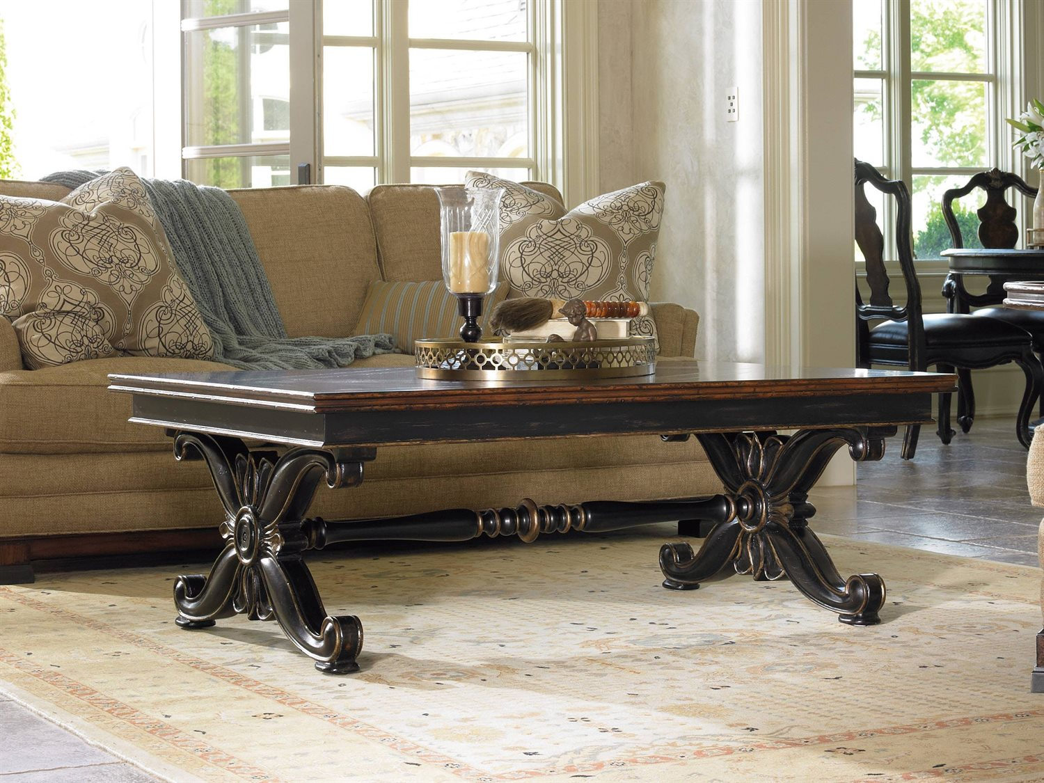 - Hooker Furniture Grandover Black With Gold Accent 56''L X 40''W Rectangular Cocktail  Table HOO502950001
