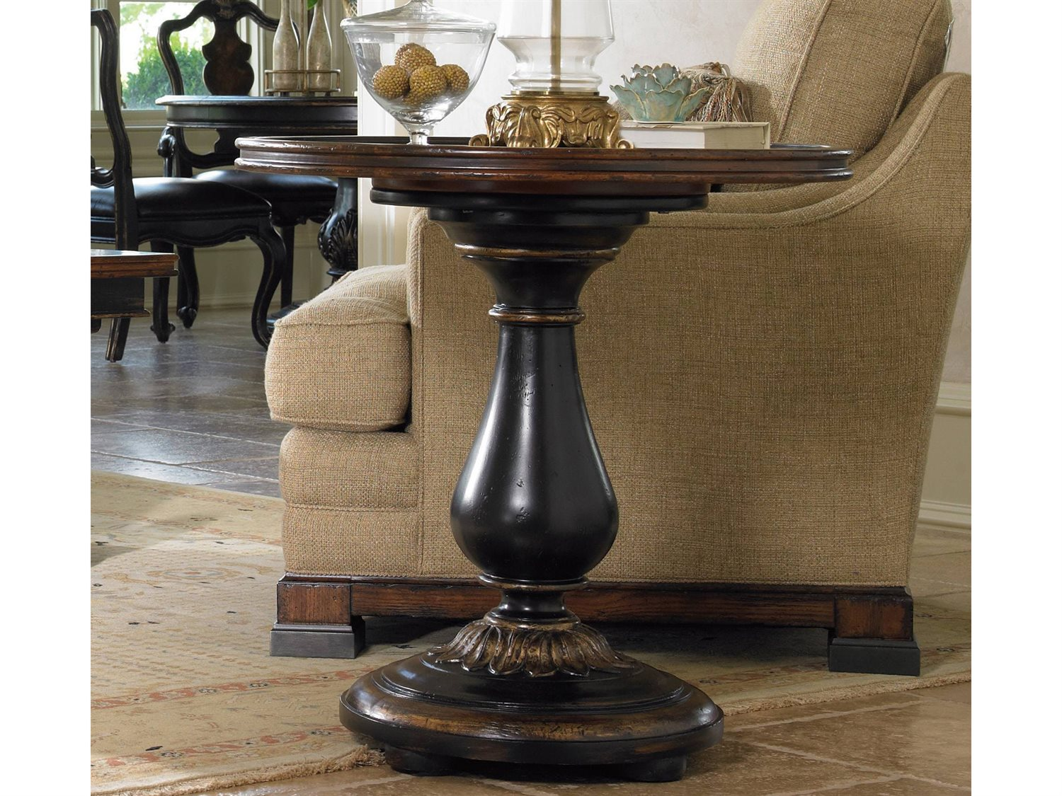 Furniture Grandover Black With Gold 28 Wide Round Pedestal End Table