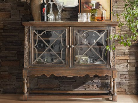 Hooker Furniture Hill Country Timeworn Saddle Brown / Anthracite Black La Coste Wine Cabinet