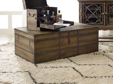 Hooker Furniture Hill Country Timeworn Saddle Brown / Aged Pewter 50''W x 30''D Rectangular Pinta Trail Cocktail Table