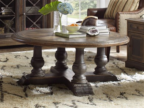 Hooker Furniture Hill Country Timeworn Saddle Brown / Aged Pewter 48'' Wide Round Medina Cocktail Table HOO596080111MULTI