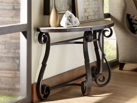 Hooker Furniture Hill Country Antique Travertine / Black 61''W x 18''D Demilune Luckenbach Console Table HOO596080151MTL