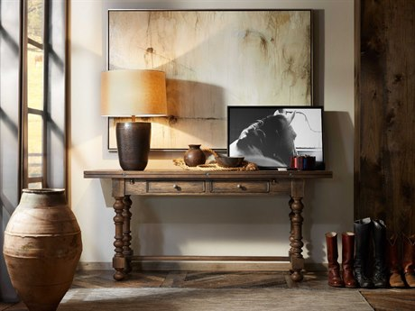 Hooker Furniture Hill Country Timeworn Saddle Brown / Aged Pewter 72''W x 20-40''D Rectangular Bluewind Flip-Top Console Table