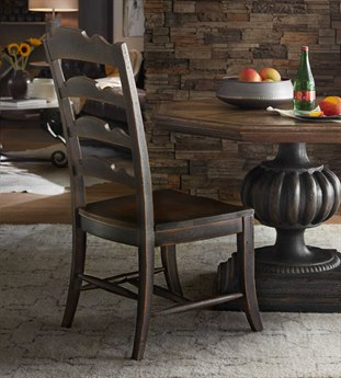 Hooker Furniture Hill Country Anthracite Black Twin Sisters Ladderback Dining Side Chair (Sold in 2) HOO596075310BLK