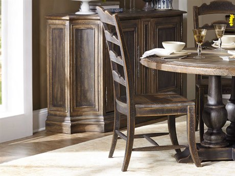 Hooker Furniture Hill Country Timeworn Saddle Brown Twin Sisters Ladderback Dining Side Chair (Sold in 2)