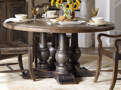 Hooker Furniture Hill Country Timeworn Saddle Brown / Anthracite Black 60'' Wide Round Applewhite Dining Table HOO596075203BRN