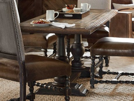 Hooker Furniture Hill Country Timeworn Saddle Brown / Anthracite Black 61-84''W x 32''D Rectangular Balcones Convertible  Dining Table / Counter Table HOO596075206BRN