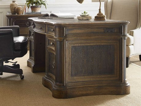 Hooker Furniture Hill Country Timeworn Saddle Brown / Anthracite Black 73''W x 37''D Rectangular St Hedwig Executive Desk