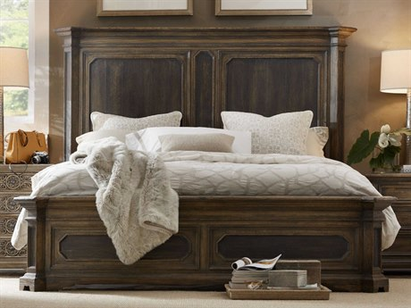Hooker Furniture Hill Country Timeworn Saddle Brown / Anthracite Black Queen Size Mansion Panel Bed