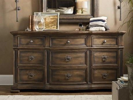Hooker Furniture Hill Country Timeworn Saddle Brown / Anthracite Black Nine-Drawer Williamson Triple Dresser