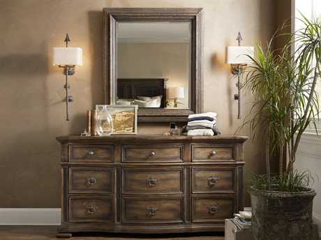 Hooker Furniture Hill Country Triple Dresser with Wall Mirror Set