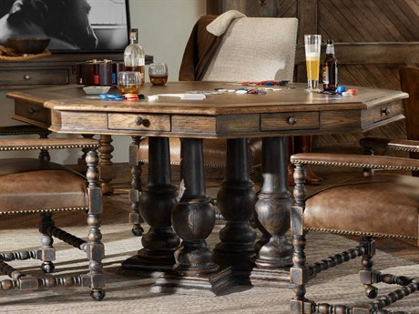 Hooker Furniture Hill Country Timeworn Saddle Brown / Anthracite Black 60'' Wide Hexagon Castle Hill Game Table HOO596085003BRN