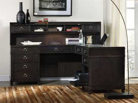 Hooker Furniture Kendrick Dark Wood 73''L x 25''W Rectangular L-Shaped Desk HOO106010479SET