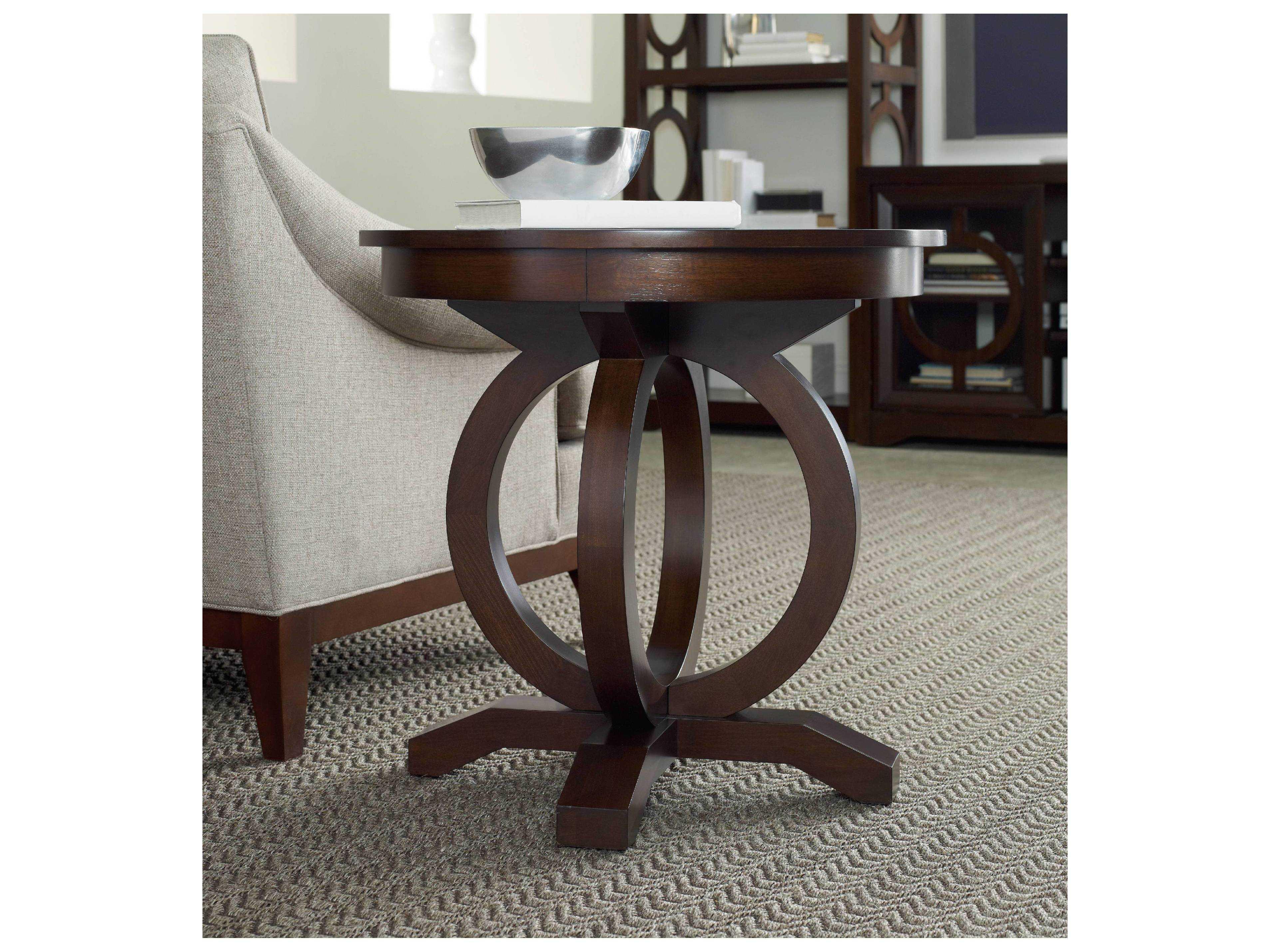 Hooker Furniture Kinsey Dark Wood 26 Wide Round End Table