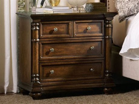 Hooker Furniture Leesburg Dark Wood 3 Drawers Nightstand