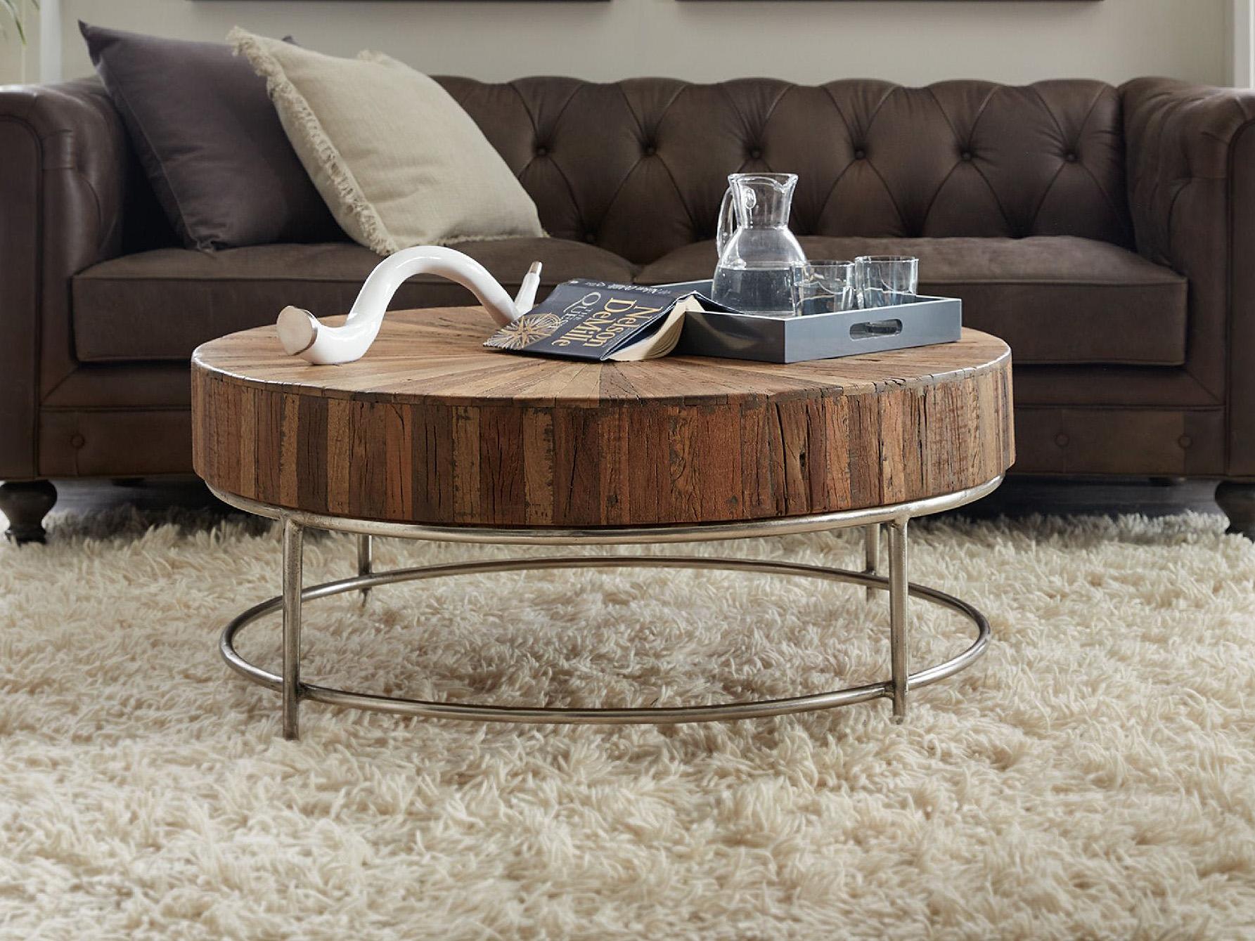 - Hooker Furniture L'Usine Medium Wood 44'' Wide Round Cocktail Table  HOO595080110MWD