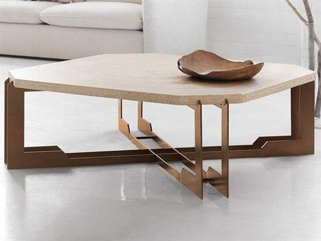 Hooker Furniture Melange Cream Travertine / Bronze 48'' Wide Octagon Coffee Table HOO6385042800