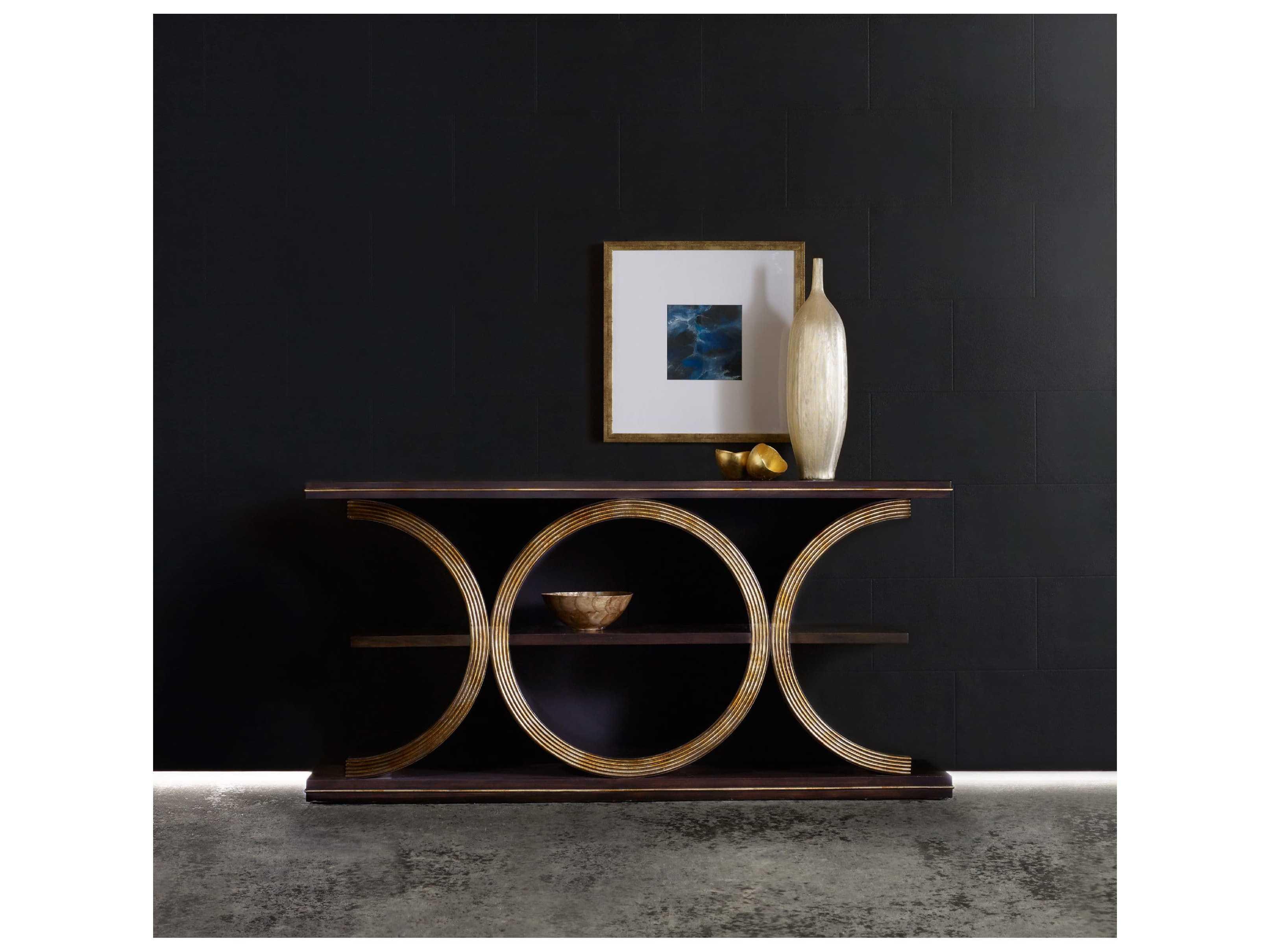 Hooker Furniture Melange Walnut With Gold 66 L X 14 W Rectangular Presidio Console Table Hoo63885219