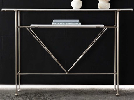 Hooker Furniture Melange Artic White Marble / Champagne 56'' Wide Rectangular Console Table HOO63885414WH