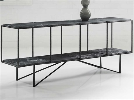 Hooker Furniture Melange Gray Marble / Dark Pewter 72'' Wide Rectangular Console Table