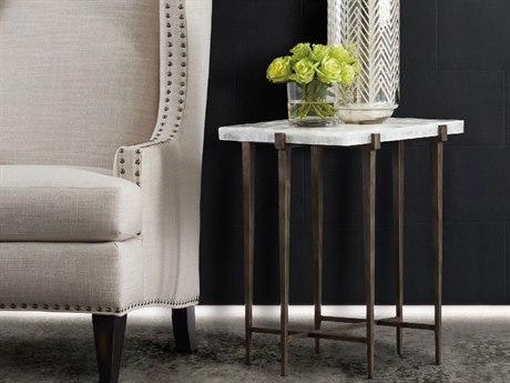 Hooker Furniture Melange White & Tubular Steel 16''L x 22''W Rectangular Bellis Accent End Table HOO63850381MULTI