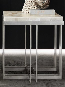 Hooker Furniture Melange White Onyx / Pewter 22'' Wide Square End Table HOO63850394MULTI