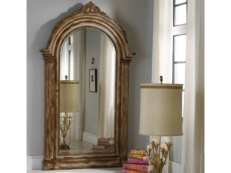 Hooker Furniture Melange Medium Wood 52''W x 90.25''H Floor Mirror with Jewelry Armoire Storage