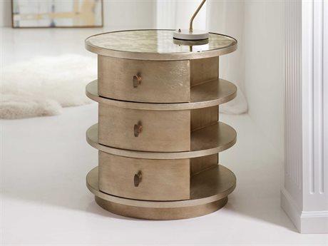 Hooker Furniture Melange Antique Mirror / Silver Leaf with Gold 28'' Wide Round End Table