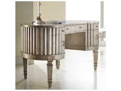 Hooker Furniture Melange Silver 60''L x 30''W Demilune Fluted Kidney Writing Desk HOO63810006