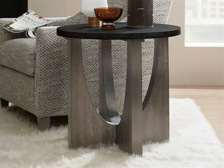 Hooker Furniture Miramar - Aventura Black Stone / Dark Wood 26'' Wide Round End Table