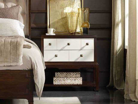 Hooker Furniture Palisade White, Cream & Beige 32''W x 17''D Rectangular Nightstand