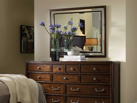 Hooker Furniture Palisade Dark Wood 44''W x 36''H Rectangular Landscape Wall Mirror HOO518390008