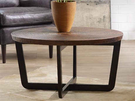 Hooker Furniture Parkcrest Coppers Copper Top With Dark Metal Base Round Coffee Table