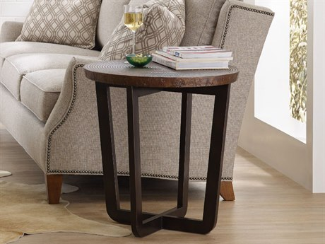 Hooker Furniture Parkcrest Coppers Copper Top With Dark Metal Base Round End Table