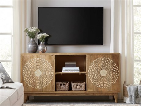 Hooker Furniture Point Reyes Light Wood with Bone Inlay 69''L x 16''W Rectangular Entertainment Console HOO565155469LTWD