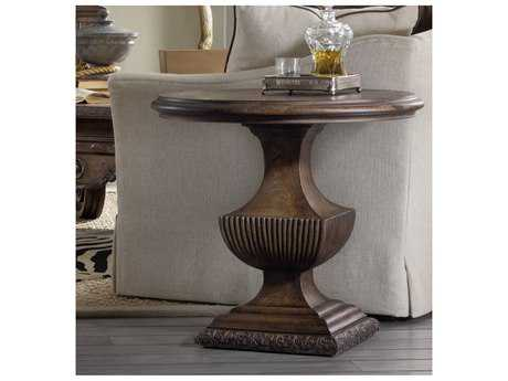 Hooker Furniture Rhapsody Rustic Walnut 31'' Wide Round Urn Pedestal Nightstand