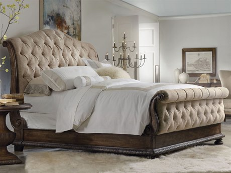 Hooker Furniture Rhapsody Rustic Walnut Queen Size Tufted Sleigh Bed HOO507090550