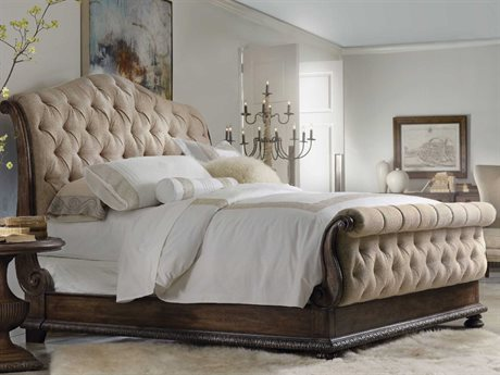 Hooker Furniture Rhapsody Rustic Walnut King Size Tufted Sleigh Bed
