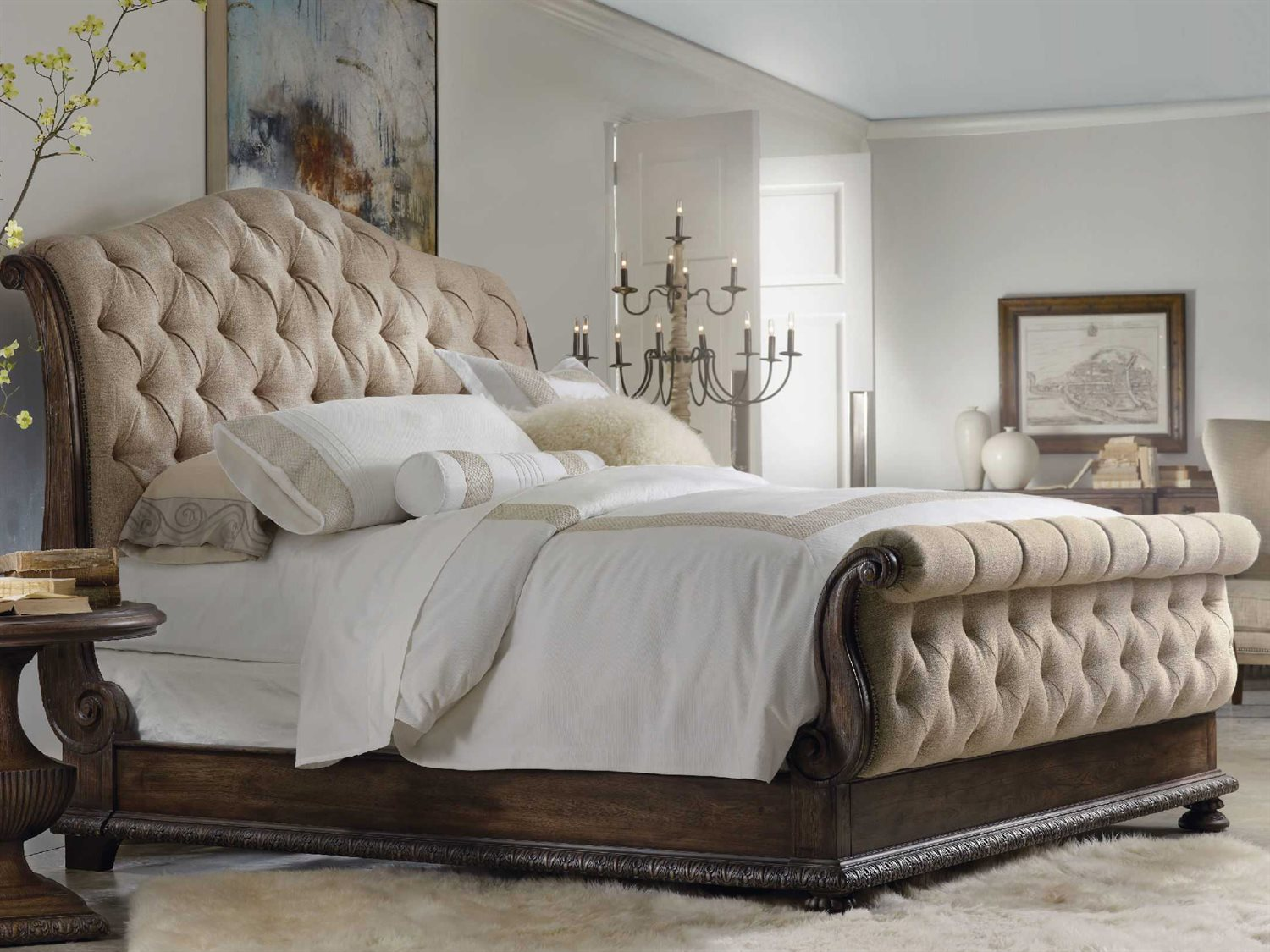 Picture of: Hooker Furniture Rhapsody Rustic Walnut King Size Tufted Sleigh Bed Hoo507090566